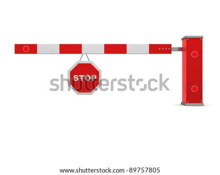 A red and white barrier on white background - this is 3d render illustration