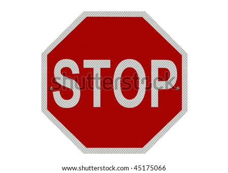 A red and white STOP sign, isolated on a pure white background