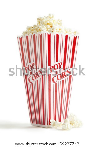 A red and white striped theater type popcorn box filled over the top.