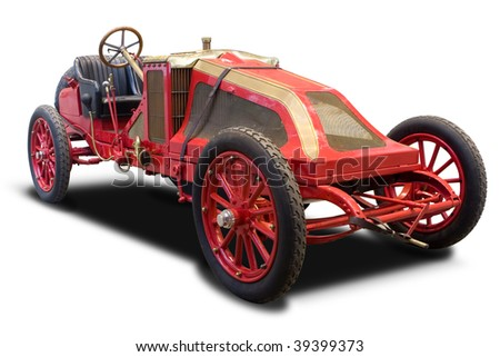 A Red Antique Car Isolated on White