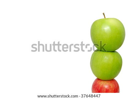 A red apple at the bottom of the pile supporting other apples. Suitable for concepts such as outstanding, leadership, individualistic, success, daring to be different, support and help,