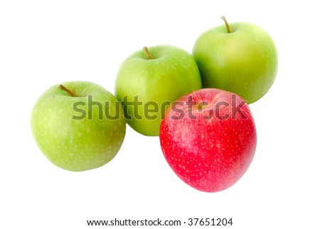 A red apple standing out from the crowd. Suitable for concepts and ideas such as outstanding, leadership, individualistic, success, daring to be different, and healthy eating and a healthy lifestyle.