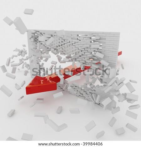 A red arrow breaks through a brick wall