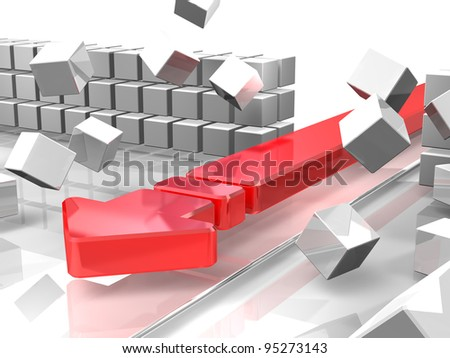 """A red arrow is attacking  barriers. It represent the """"break through"""". This is a computer generated image."""
