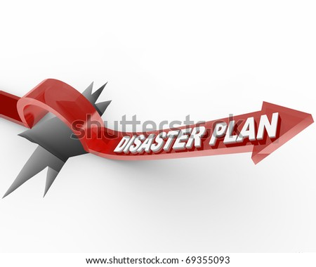A red arrow with the words Disaster Plan leaps over a wide hole - stock photo