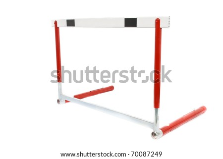 A red athletics hurdle, isolated on a white background.