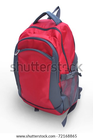 A red backpack isolation