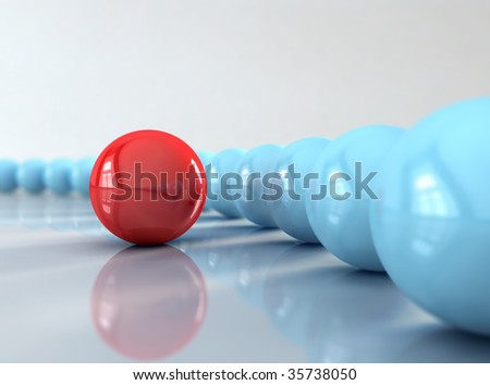 A red ball in front of many blue