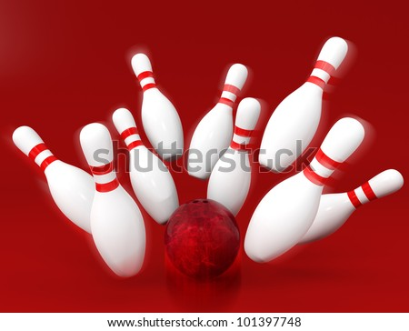 a red ball knock down bowling pins with red background