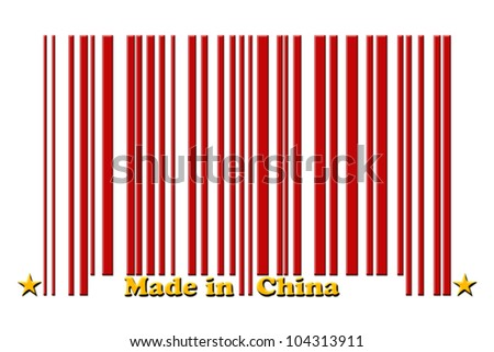 A red bar code with the words made in China isolated on white, Make in China