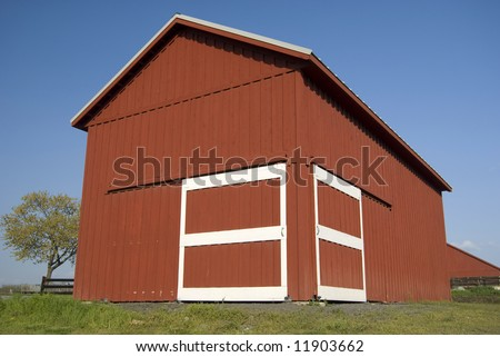 A red barn or shed on a farm