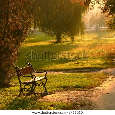 A red bench in the park at sunset