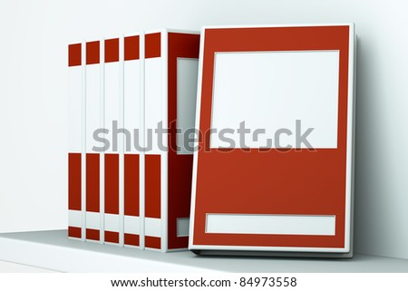 a red books on a shelf