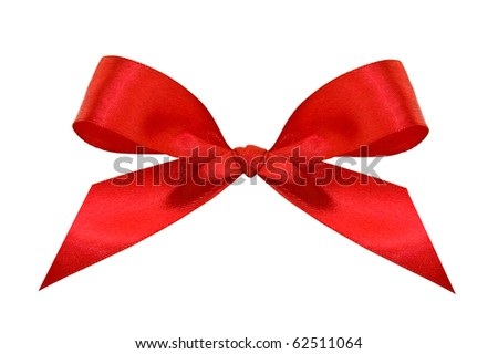 A red bow isolated on a white background with clipping path.