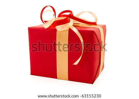 A red boxs tied with a red and gold satin ribbon bow. A gift for Christmas, Birthday, Wedding, or Valentine's day. Isolated on white with clipping path.