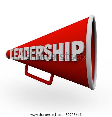 A red bullhorn with the word Leadership on it