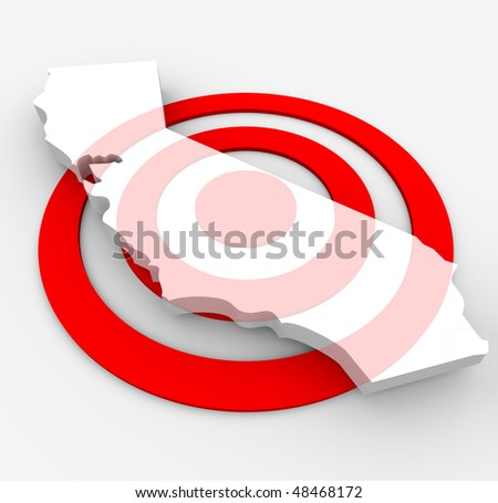A red bulls-eye with a map of California state on it