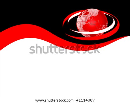 A red business card, brochure cover or presentation background template with a red globe