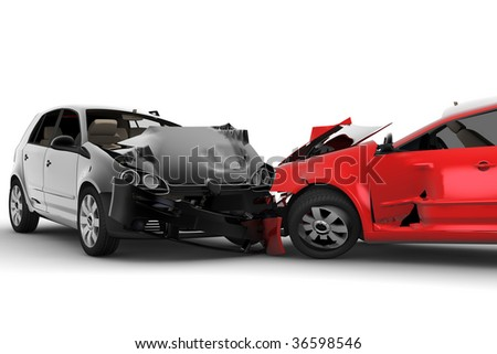 A red car and one black crash in an accident - stock photo