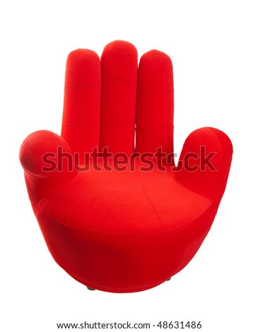 A red chair in the shape of a hand.  Shot on white background.