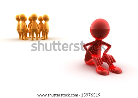 A red character sitting away from a group of yellow characters. Concept of an outsider, loneliness,...