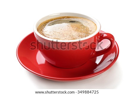 A red cup of tasty coffee, isolated on white #349884725