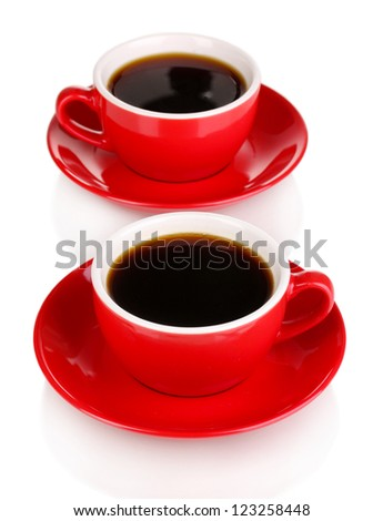 A red cups of strong coffee isolated on white