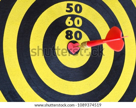 Free photos bullseye avopix a red dart arrow hitting on center at bullseye of dartboard which is heart shaped altavistaventures Image collections