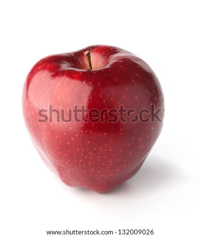A red Delicious Apple on white background with shadows