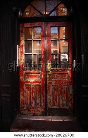 a red door in new yorks greenwich village