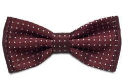 a red dotted bow-tie on white with clipping path