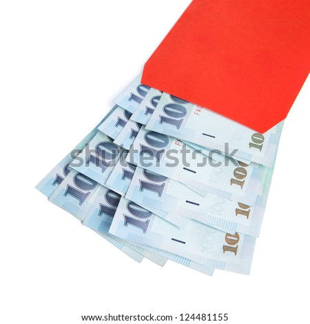 A red envelope filled with 1000 New Taiwan dollar notes isolated on a white background.