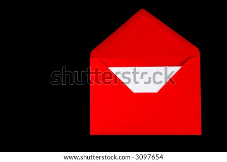 A red envelope on a black background