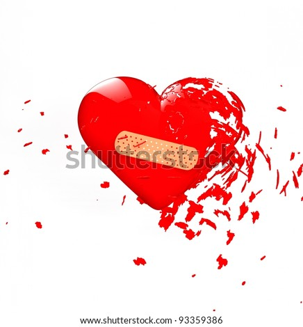 a red explode band-aid heart isolated on white
