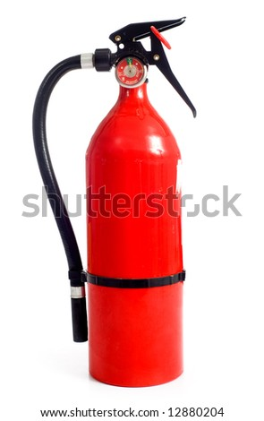 A red fire extinguisher on a white background