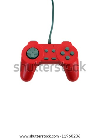 A red game controller isolated over white with plenty of copyspace.  This file includes the clipping path.