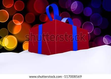 A red gift with a blue ribbon and a bow in snow 3d concept on color bokeh