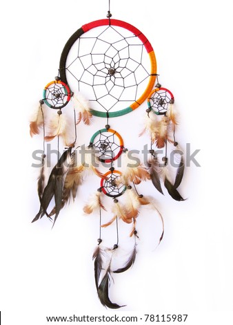 A red,green and black dream catcher isolated in white.