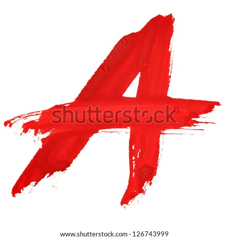 A - Red handwritten letters over white background - stock photo
