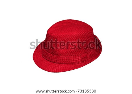 A red hat with strap