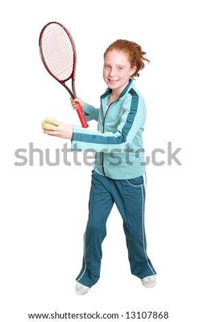 a red headed girl with a tennis racket and ball over white