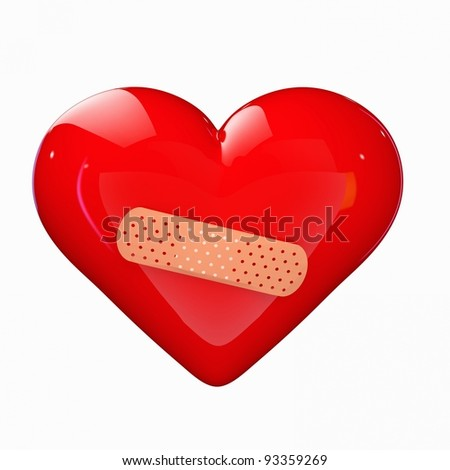 a red heart with a band-aid isolated on white