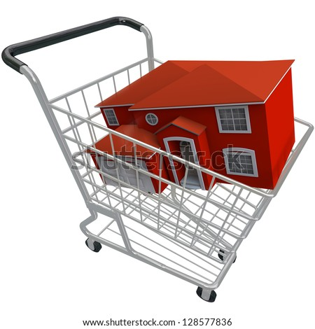 A red home sits in a shiny metal shopping cart, symbolizing the purchase of a new home