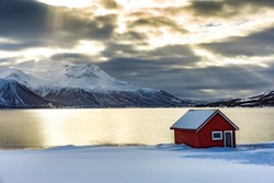 A red house on a Norwegian fiord faces an amazing sunset in a beautiful snowy landscape. The sunlight colors the sea which seems made of gold and get illuminated by the rays passing trough the clouds.