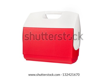 A red ice chest cooler isolated on a white background