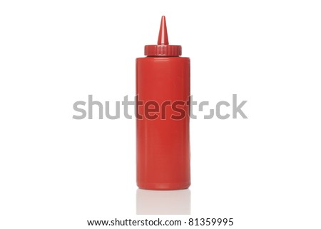 A red ketchup bottle against a white background