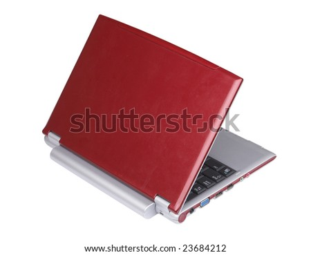 a red laptop computer isolated on white.