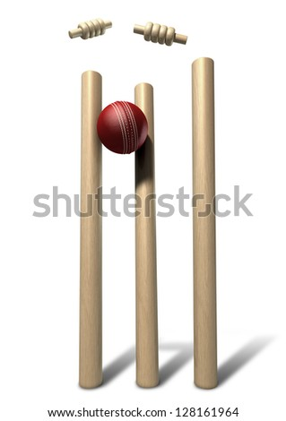 A red leather cricket ball striking and unsettling wooden cricket wickets and bails on an isolated background