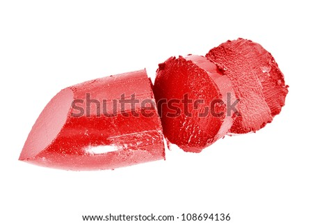 A red lipstick broken isolated