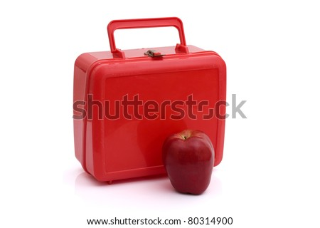 A red lunchbox with an apple isolated on white, Healthy School Lunch